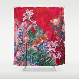 Ruby Red Floral Jungle Shower Curtain
