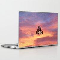 bible Laptop & iPad Skins featuring He Has Risen - Bible Lock Screens by Bible Lock Screens