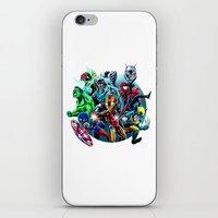 super heroes iPhone & iPod Skins featuring Super Heroes by Carrillo Art Studio