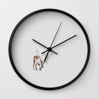 iceland Wall Clocks featuring Iceland Reindeer by Chelle Wootten