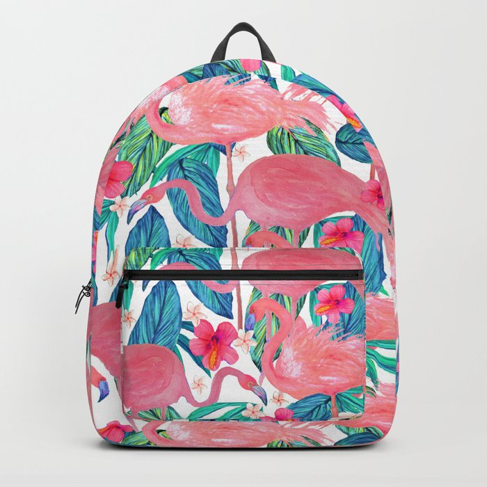 Tropical Flamingo Watercolor Floral Backpack