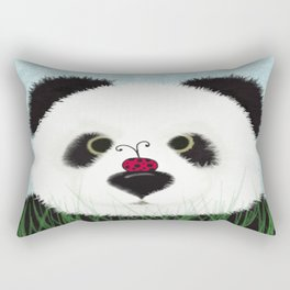 The Panda Bear And His Visitor Rectangular Pillow