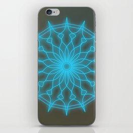 Throat chakra glowing mandala, chakra balancing iPhone Skin