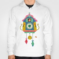 wall clock Hoodies featuring Cuckoo Clock Cats by Anne Was Here