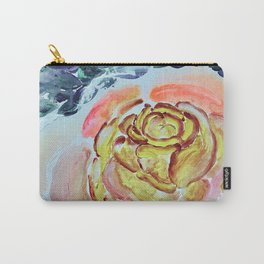 Yellow Greenery Rose Floral Carry-All Pouch