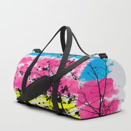tree branch with leaf and painting texture abstract background in blue pink yellow Duffle Bag