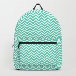 Aqua Blue Chevron Zig Zag Backpack