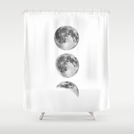 Full Moon cycle black-white photography print new lunar eclipse poster bedroom home wall decor Shower Curtain