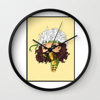 rogue Wall Clocks featuring Chibi Rogue by artwaste