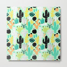 Cactus Crazy in Mint - Small Scale Metal Print