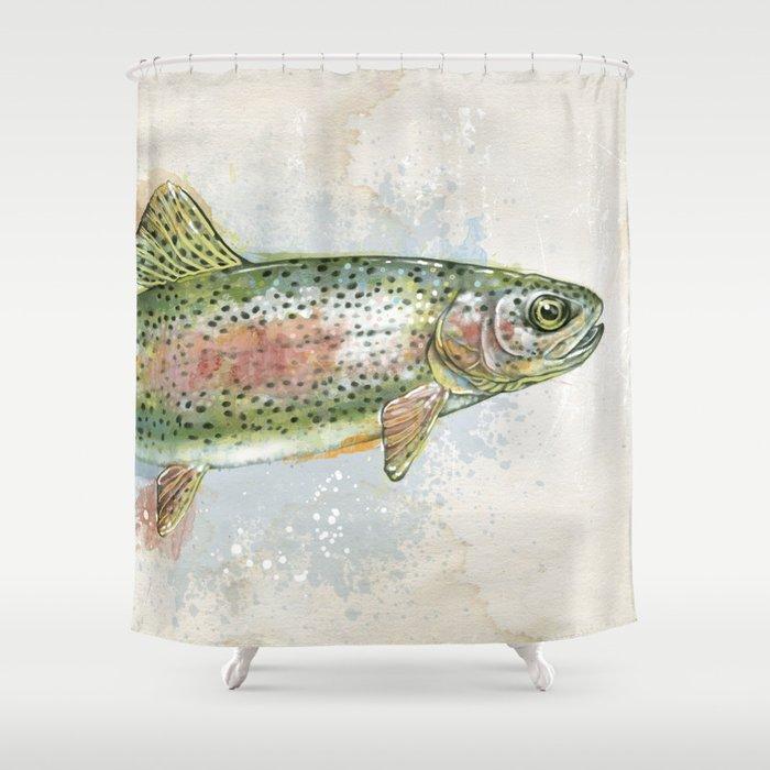 Splashing Rainbow Trout Shower Curtain