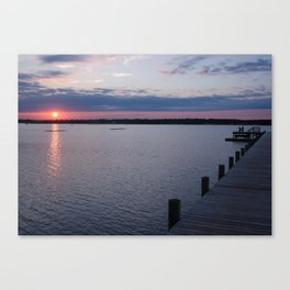 Couple Watching The Sun Set On The Water Canvas Print