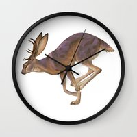 jackalope Wall Clocks featuring Jackalope by Sadé Hickman