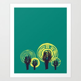 Adorned Salad Forest in Teal, Yellow and Midnight Blue Art Print