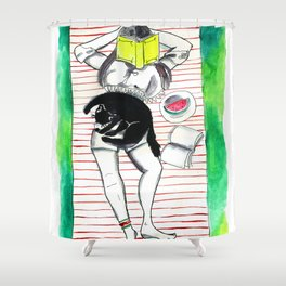 Female and feline1 Shower Curtain