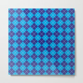 Argyle Pattern | Shades of Blue Metal Print