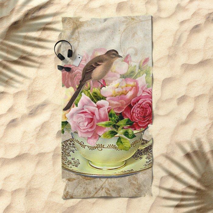Tea flowers #3 Beach Towel