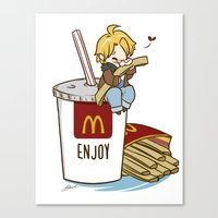 hetalia Canvas Prints featuring Hetalia - America Loves McDonalds  by BlacksSideshow