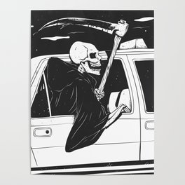 Passenger taxi grim - black and white - gothic reaper Poster