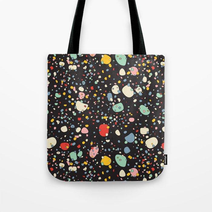 Modern Scandinavian Multi Colour Color Pebbles Black Tote Bag