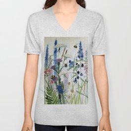 Wildflower in Garden Watercolor Flower Illustration Painting Unisex V-Neck