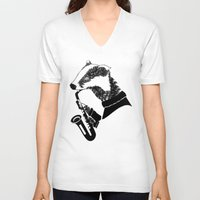 badger V-neck T-shirts featuring Badger Saxophone by mailboxdisco