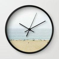 santa monica Wall Clocks featuring Santa Monica Beach by Pure Nature Photos