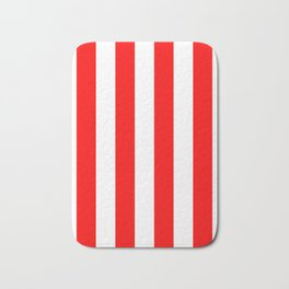 Vertical Stripes - White and Red Bath Mat