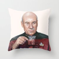 picard Throw Pillows featuring Tea. Earl Grey. Hot. Captain Picard Star Trek | Watercolor by Olechka