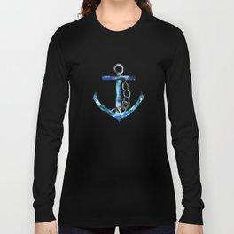 blue green anchor watercolor Long Sleeve T-shirt