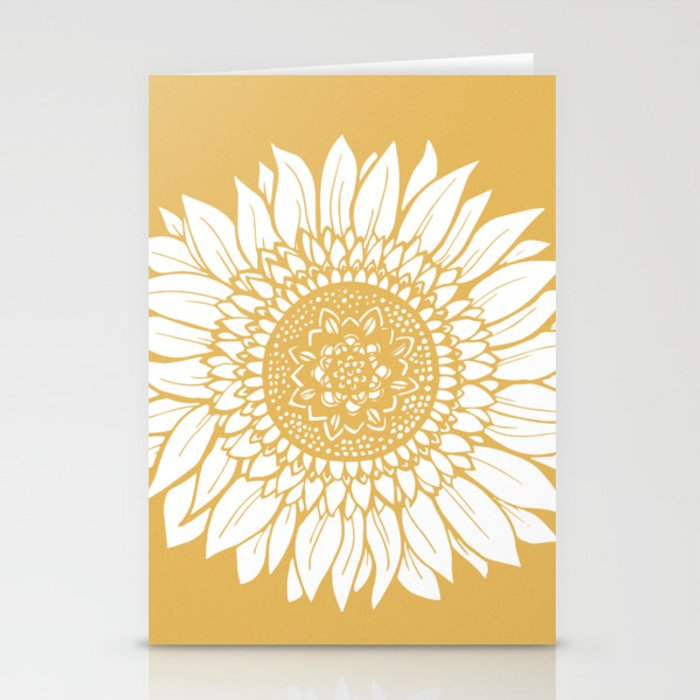 Yellow Sunflower Drawing Stationery Cards