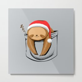 Sloth in a Pocket Xmas Metal Print