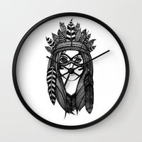 headdress Wall Clocks featuring Headdress by Caleb Swenson