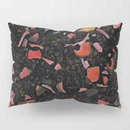 Black terrazzo and orange red Pillow Sham