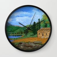 cabin Wall Clocks featuring Old cabin by maggs326