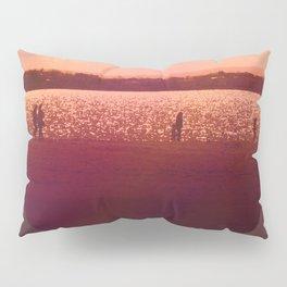 Vintage Coral Sunset, Winter Beach Pillow Sham