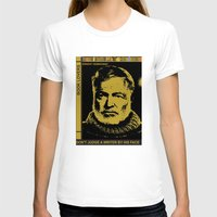 hemingway T-shirts featuring Ernest Hemingway Bokk Lovers by Guido prussia