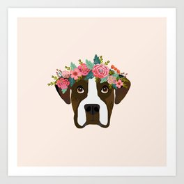 Boxer dog breed floral crown boxers dog lover pure breed gifts Art Print