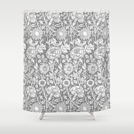 "William Morris Floral Pattern | ""Pink and Rose"" in Grey and White 
