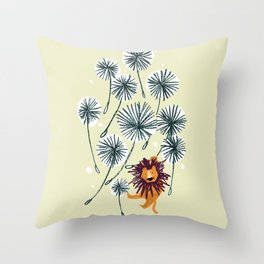 Lion on dandelion Throw Pillow