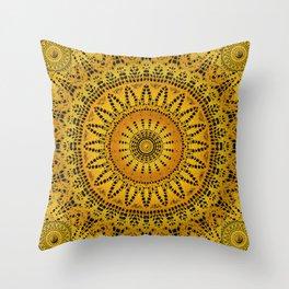 Golden Lace Mandala Pattern Throw Pillow