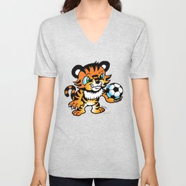 Soccer Tiger (color) square Unisex V-Neck