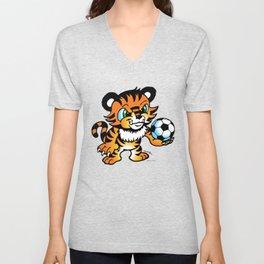 Soccer Tiger (color) square Unisex V-Neck