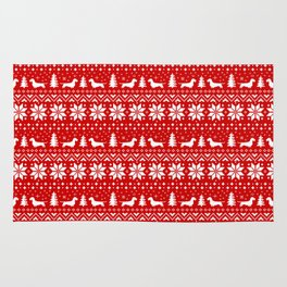 Wirehaired Dachshund Silhouettes Christmas Sweater Pattern Rug