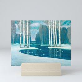 Birch Trees by a River - Latvian Lettish Fine Art - Purvitis Mini Art Print