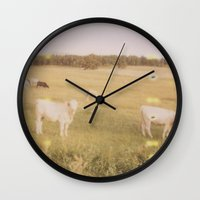 cows Wall Clocks featuring Cows by Kristine Ridley
