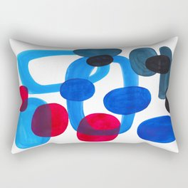 Abstract Minimalist Mid Century Modern Colorful Pop Art Retro Funky Shapes Blue Turquoise Rectangular Pillow