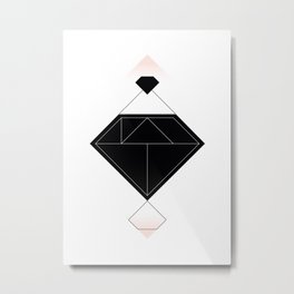 Tangram Diamond Linework Black Metal Print