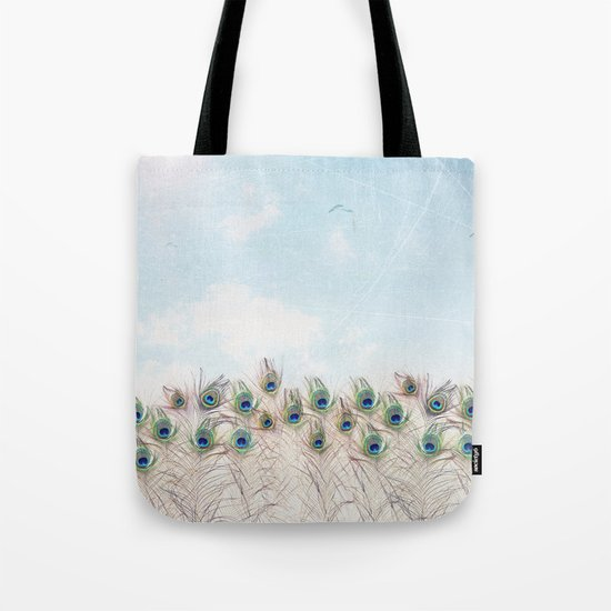 Fly Over A Peacock Field Tote Bag