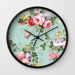 Elegant chic pink green roses flowers pattern Wall Clock